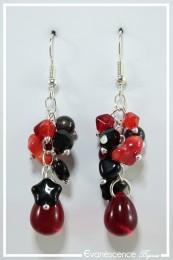 Boucles d'oreilles Alizée - Couleur Rouge et Noir