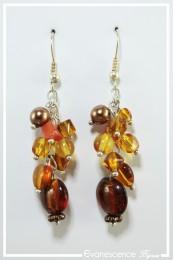 Boucles d'oreilles Patou - Couleur Brun et Orange