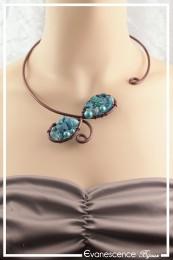 Collier Adonis - Couleur Chocolat et Turquoise
