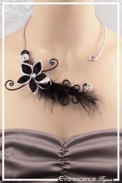 Collier Fergie (Modèle plumes) - Couleur Noir et Argent