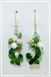 Boucles d'oreilles Kookie - Couleur Vert et Blanc