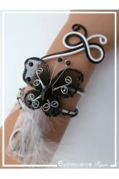 Bracelet Black Pearl (modèle plumes) - Couleur Noir et Blanc