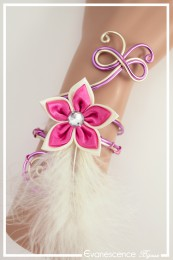 Bracelet Maki (Modèle plumes) - Couleur Ivoire et Fuchsia