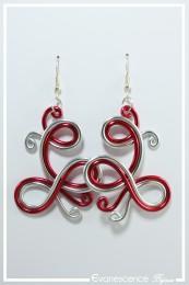 Boucles d'oreilles Ying - Couleur Argent et Rouge