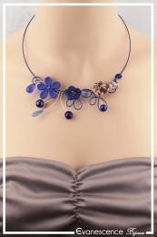 Collier Tchin - Couleur Argent et Bleu