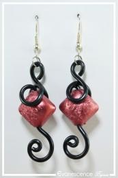 Boucles d'oreilles Baboune - Couleur Noir et Rouge