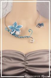 Collier Maki - Couleur Argent et Turquoise