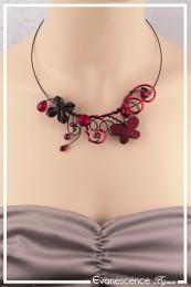 Collier Ophélie - Couleur Noir et Rouge