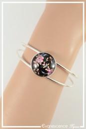 Bracelet Fleur de cerisier - Couleur Noir et Rose
