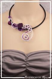 Collier Fusain - Couleur Violet et Blanc