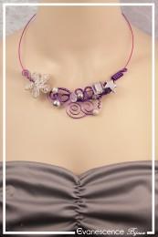 Collier Opaline - Couleur Violet et Argent
