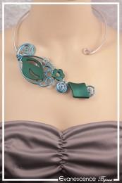 Collier Gina - Couleur Argent et Vert émeraude