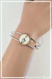 Bracelet Clé de sol - Couleur Beige et Noir