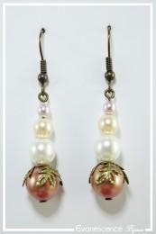 Boucles d'oreilles Ulla - Couleur Rose et Blanc
