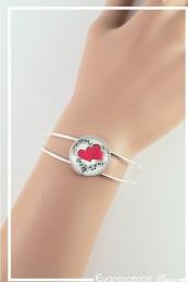 Bracelet Cœur de partition - Couleur Noir, Blanc et Rouge