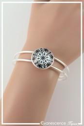 Bracelet Roue fleurie - Couleur Blanc et Noir