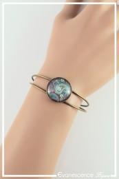 Bracelet Cachemire - Couleur Vert, Bleu et Fuchsia