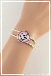Bracelet Cœur en note de musique - Couleur Rose et Noir