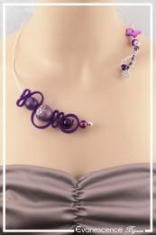 Collier Carbone - Couleur Violet et Argent