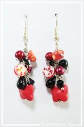 Boucles d'oreilles Willow - Couleur Rouge et Noir
