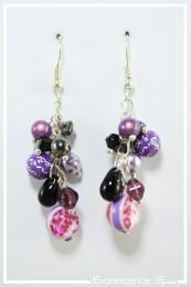 Boucles d'oreilles Mandoline - Couleur Violet et Noir